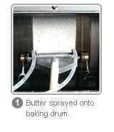 FSP - butter sprayed onto baking drum