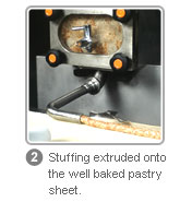 FSP - Stuffing extruded onto the well baked pastry sheet